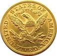 USA  -  5 DOLLARÓW  1893  ZŁOTO