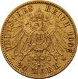 NIEMCY, 20 marek 1906 r. Au 900. 7,95 g. WILHELM II