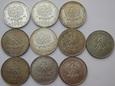 LOT 10 x 1000 złotych 1982, Jan Paweł II, 145 g. Ag 625.