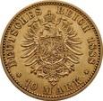 NIEMCY, Prusy (A), 10 marek 1888 r. Au 900. 3,98 g.