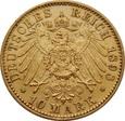 NIEMCY, Saksonia (E). 10 marek 1898 r. Au 900. 3,96 g. Albert