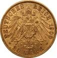 NIEMCY, Berlin (A), 20 marek 1900 r. Au 900. 7,95 g.