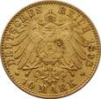 NIEMCY, Hamburg (J), 10 marek 1898 r. Au 900. 3,97 g.