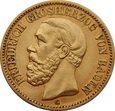 NIEMCY BADENIA 20 marek 1873 r. Au 900. Mennica Karlsruhe (G)