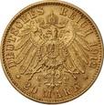NIEMCY, 20 marek 1912 r. Au 900. WILHELM II, Mennica Hamburg  (J)