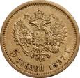 ROSJA: 5 rubli 1897 rok.  Au 900, 4,29 g. (А.Г)