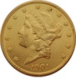USA 20 dolarów 1901 r. Liberty Au 900, 33,50 g. BELGIJKA