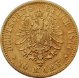 NIEMCY, Prusy (B), 10 marek 1874 r. Au 900. 3,96 g.