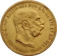 AUSTRIA, 10 koron 1910 r. Au 900. 3,39 g. Franciszek Józef