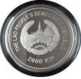 LAOS: 2000 kip 2011 r. 2 Oz srebra + platerowane złotem