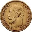 ROSJA: 5 rubli 1898 r. Au 900, 4,3 g. АГ, Petersburg