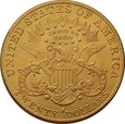 USA 20 dolarów 1895 r. Liberty Au 900, 33,44 g. BELGIJKA