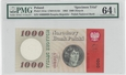 1000 złotych 1962 r. NIEOBIEGOWY. PMG 64 EPQ.