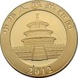 CHINY, 20 yuan 2012 r. Panda, 1/20 uncji Au 999. 1,55 g.