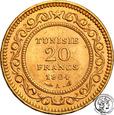 Tunezja Muhammad al-Hadi 20 Franków AH 1322 (1904) mennica Paryż s.1