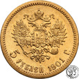 Rosja Mikołaj II 5 Rubli 1901 AP RZADKIE st.1-