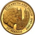 Guernsey 25 funtów 1997 Królewskie Złote Gody st.L
