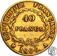 Francja 40 franków 1806 A Napoleon I st.3