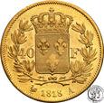 Francja Ludwik XVIII 1814-1824 40 franków 1818 A Paryż st.2-