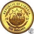 Liberia 100 dolarów 1997 Diana st.L-
