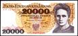 20000 ZŁOTYCH 1989 ROK SERIA AM SKŁODOWSKA STAN PIERWSZY BANKOWY UNC