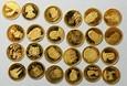Zestaw 24 szt. x 0,50 g, rzadkie pozycje, zwierzęta, złoto