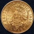 Niemcy - 20 marek 1888 - Wilhelm II, złoto