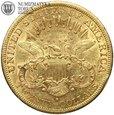 USA, 20 dolarów, 1878 rok, S, st. 3/3+, złoto
