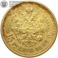 Rosja, 15 rubli, 1897, st. 3/3+, złoto