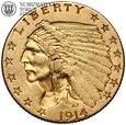 USA, 2,5 dolara 1914 D, Indianin, złoto