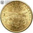 USA, 20 dolarów, 1899 rok, S, st. 2+, złoto