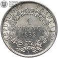 Francja, 1 frank 1852 A, st. 1-, #DW