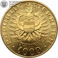 Austria, 1000 szylingów, 1976 rok, złoto