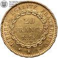 Francja, 20 franków 1875 A, Anioł, st. 3+, złoto