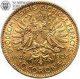 Austria, 10 koron 1908, złoto