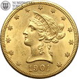 USA, 10 dolarów, 1901 rok, S, złoto