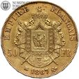 Francja, 50 franków 1867, BB, wieniec, st. 3+