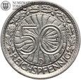 Weimar, 50 reichspfennig 1928 D, st. 3+, #L