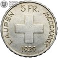 Szwajcaria, 5 franków, 1939 B, Bitwa pod Laupen