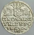 A184. Trojak koronny 1606, Zyg III, st 2/3+ RR