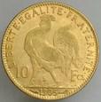 A66. Francja, 10 franków 1907, Kogut, st 3-2