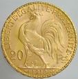 21. Francja, 20 franków 1910, Kogut, st 1
