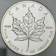 A243. Kanada, 5 dolarów 2009, Liść klonowy, uncja srebro