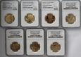 7 x 200 zł zestaw złotych monet - 7x NGC PF69