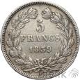 FRANCJA - 5 FRANKÓW - 1839 W - LUDWIK FILIP - st. 3