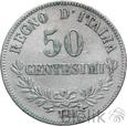 WŁOCHY - 50 CENTESIMI - 1863 M BN - WIKTOR EMANUEL II - Stan: 3