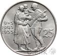 CZECHOSŁOWACJA - 25 KORON - 1955 - 10 LAT NIEPODLEGŁOŚCI - Stan: 1-