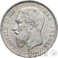 BELGIA - 5 FRANKÓW - 1875 - LEOPOLD II - Stan: 2