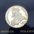 PRL, 5000 złotych, 1989, Władysław Jagiełło - popiersie