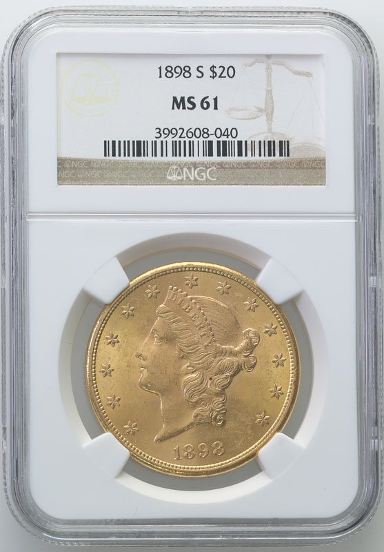 USA 20 dolarów 1898 S San Francisco NGC MS61
